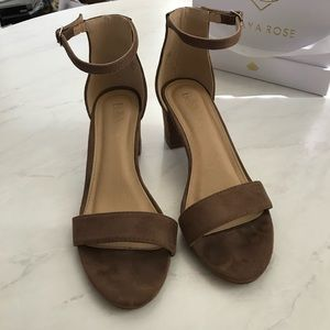 Shoes - Suede Ankle Strap Heels